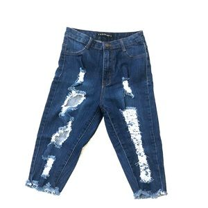 Ripped Blue Denim Shorts/jeans!
